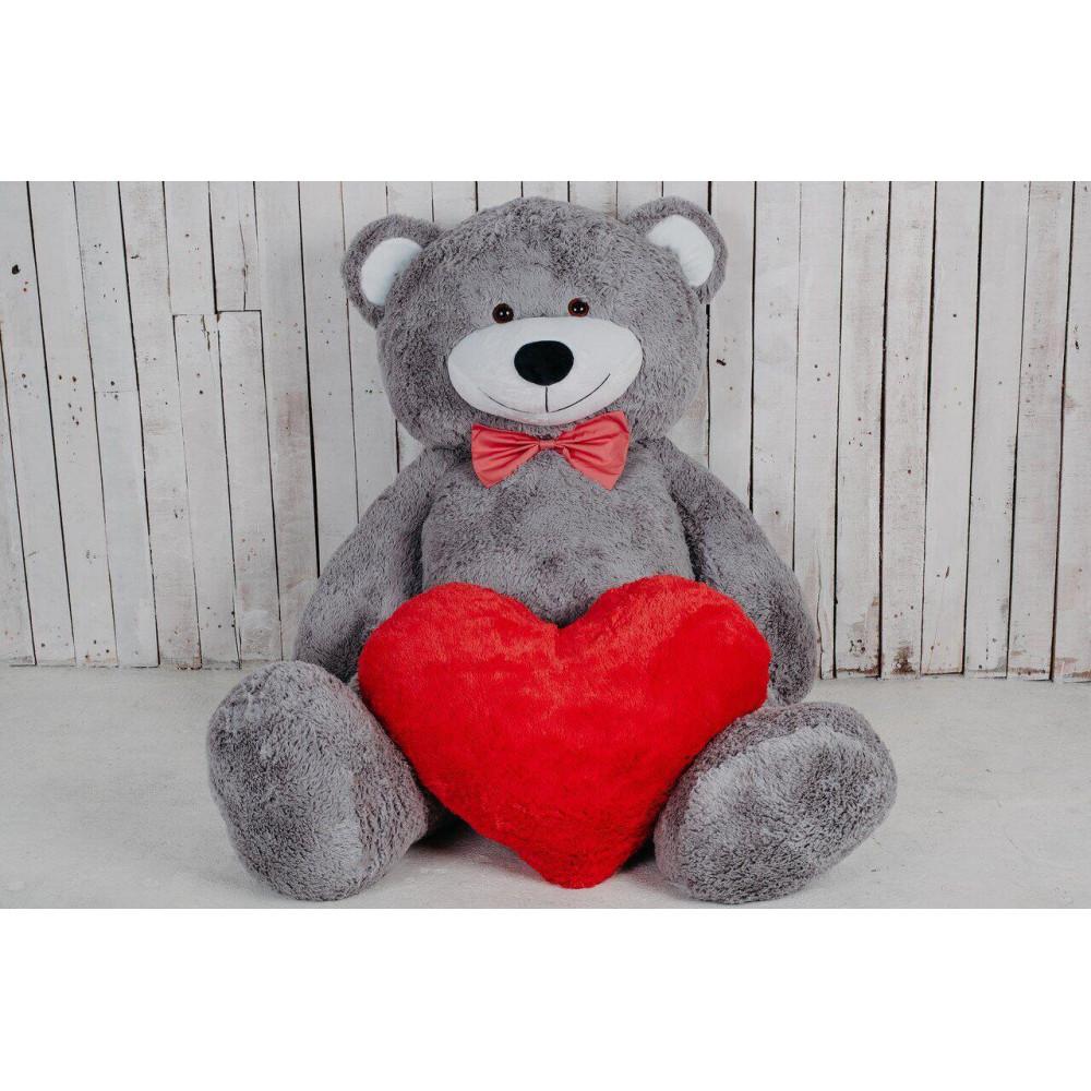 Большой плюшевый мишка с сердцем Ричард 200см Серый