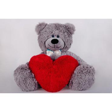 Плюшевый мишка с сердечком Джеймс 65см Серый