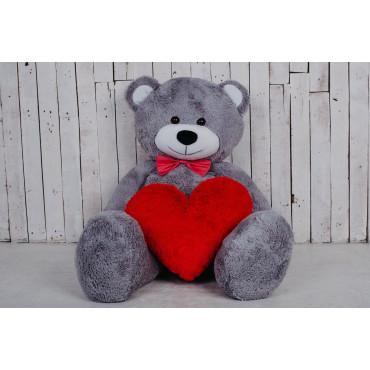 Большая мягкая игрушка мишка с сердцем Билли 150см Серый
