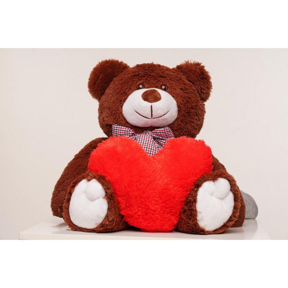 Плюшевый медведь с сердечком Джимми 90см Шоколадный