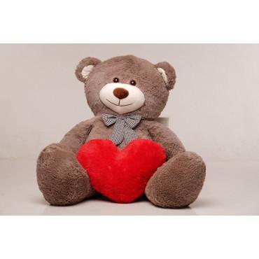 Большая мягкая игрушка мишка с сердцем Билли 150см Капучино