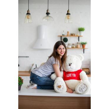 Мишка с латками плюшевый в футболке Me To You 100см Молочный