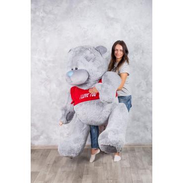 Мишка с латками плюшевый в футболке Me To You 200см Серый