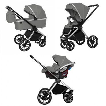 Универсальная коляска CARRELLO Optima CRL-6504 (3in1) Mirror Grey в льне /1/