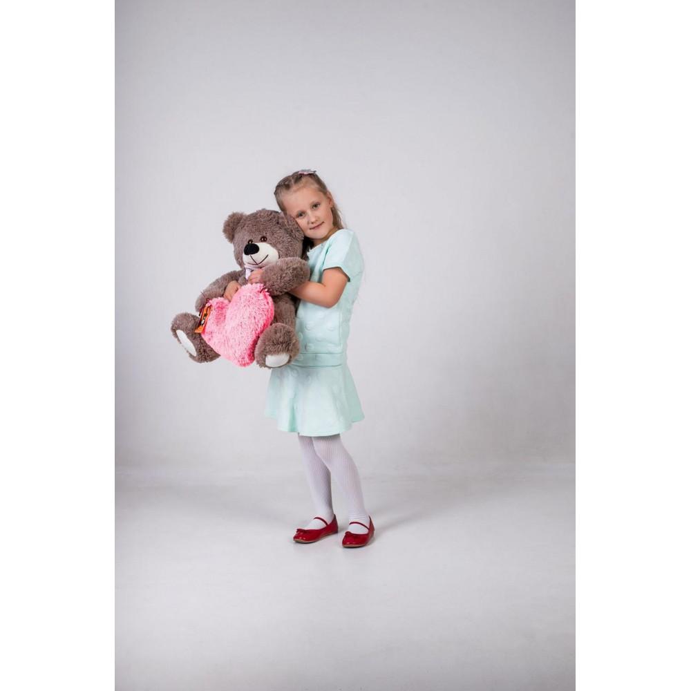 Плюшевий ведмедик з сердечком Джеймс 65см Капучино