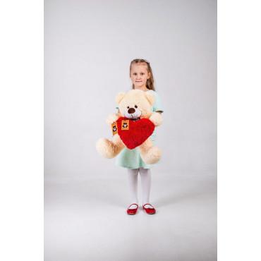 Плюшевый мишка с сердечком Джеймс 65см Персиковый