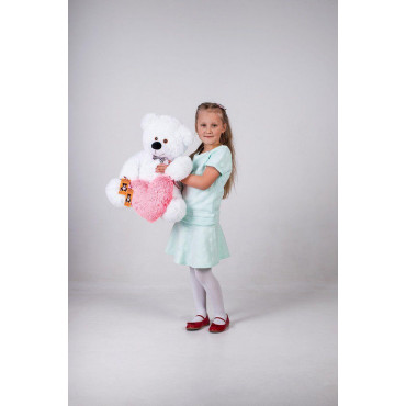 Плюшевый мишка с сердечком Джеймс 65см Белый