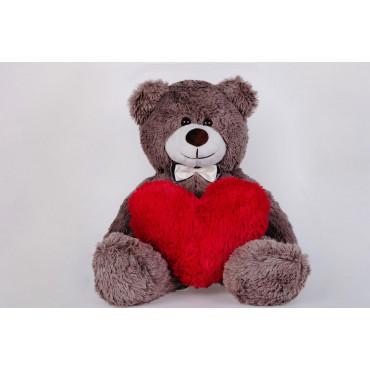 Плюшевый медведь с сердечком Джимми 90см Капучино