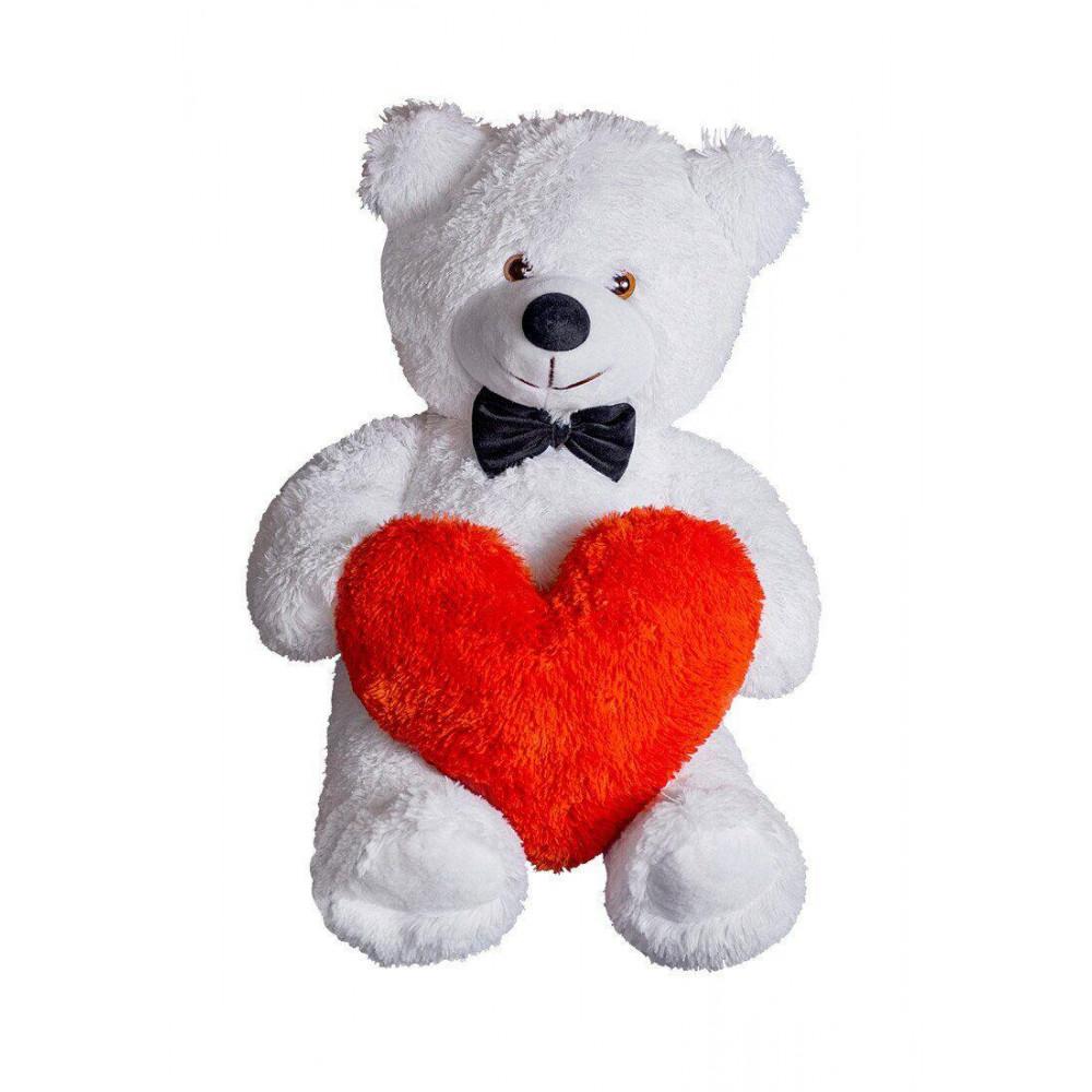 Плюшевий ведмедик з сердечком Джиммі 90см Білий