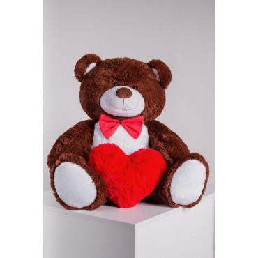 Мишка с сердечком Джон 110см Шоколадный