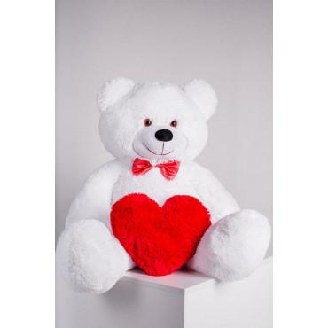 Мишка с сердечком Джон 110см Белый