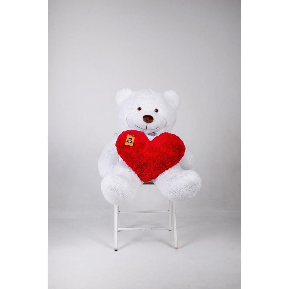 Плюшевый мишка с сердцем Бенджамин 135см Белый