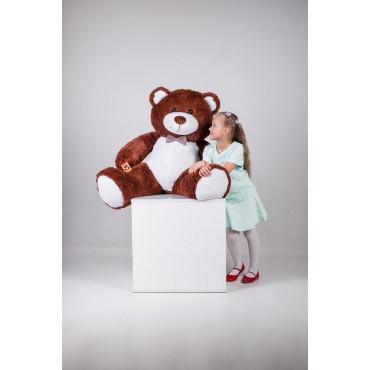 Большая мягкая игрушка мишка с сердцем Билли 150см Шоколадный