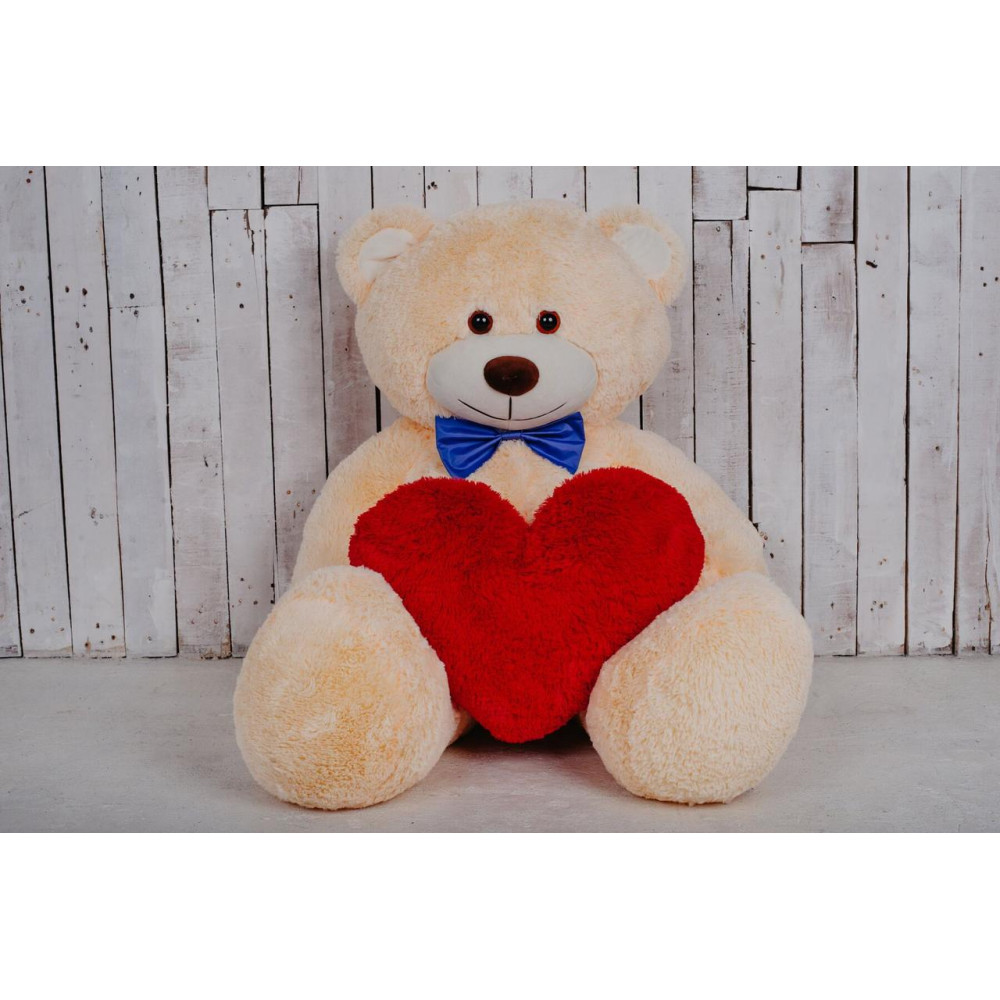 Большая мягкая игрушка мишка с сердцем Билли 150см Персиковый