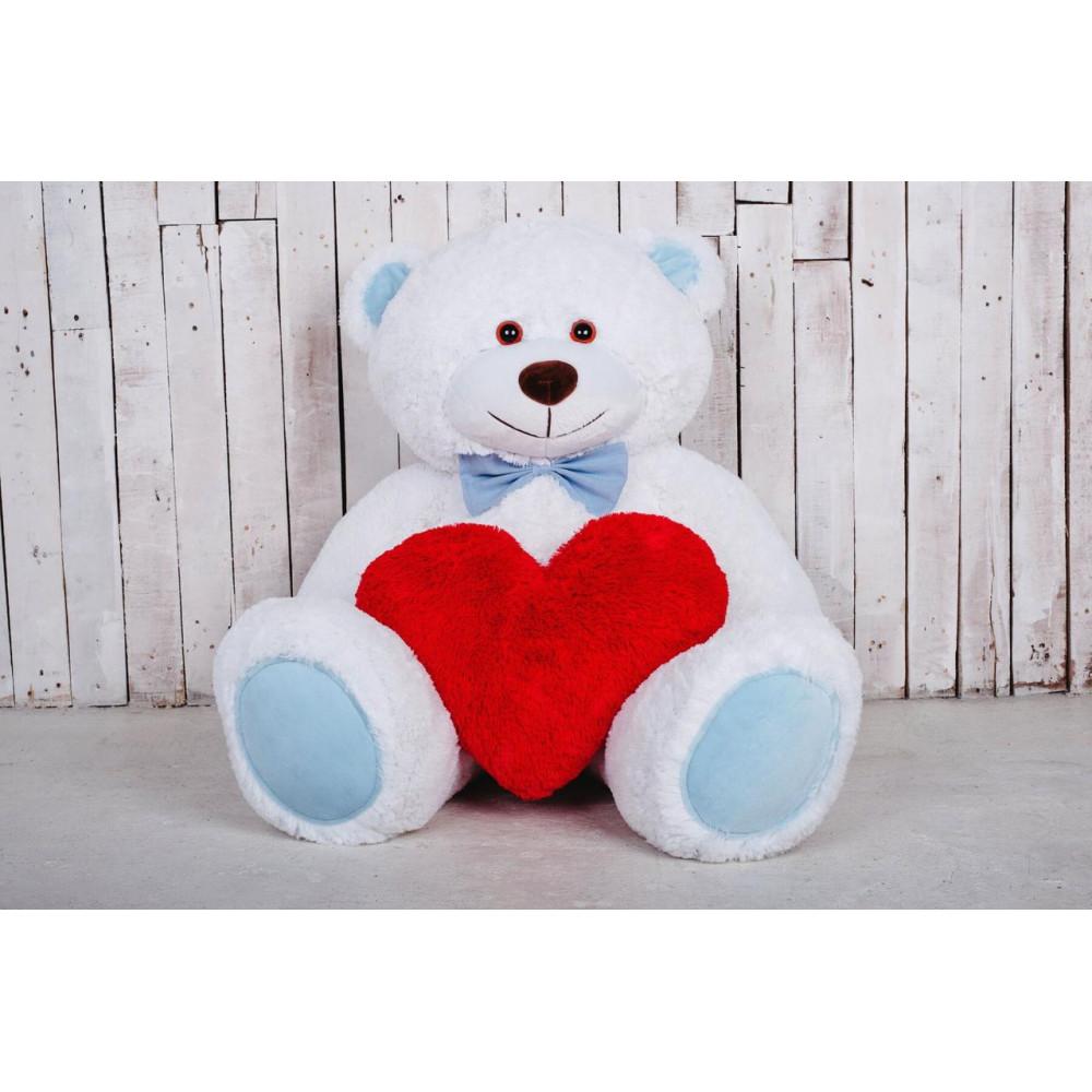 Большая мягкая игрушка мишка с сердцем Билли 150см Белый