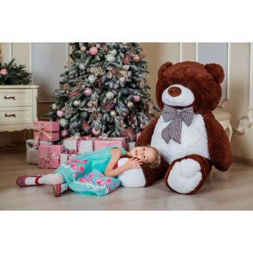 Большой плюшевый медведь Джеральд 165см Шоколадный