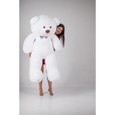 Большой плюшевый мишка с сердечком Джеральд 165см Белый