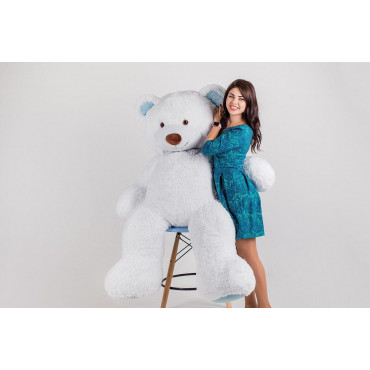 Большой плюшевый мишка Ричард 200см Белый с голубым