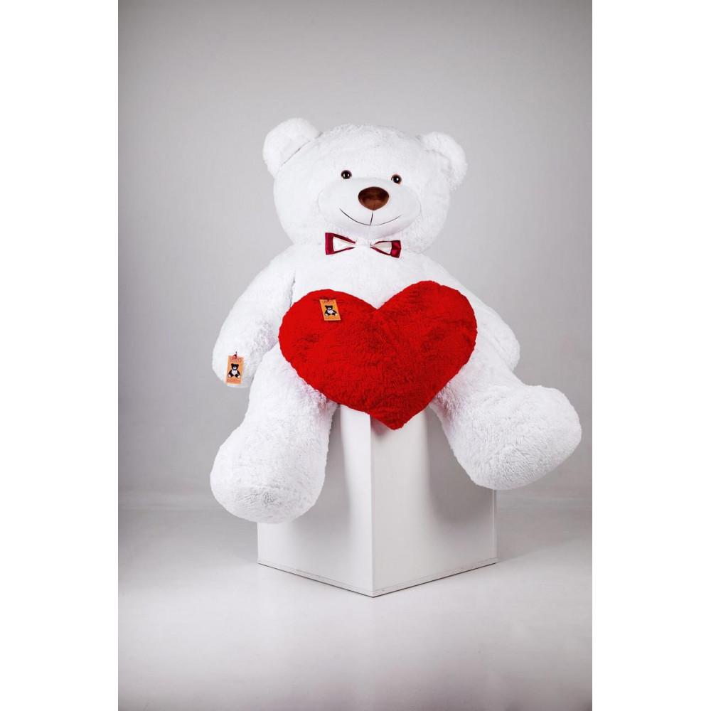 Большой плюшевый мишка с сердцем Ричард 200см Белый
