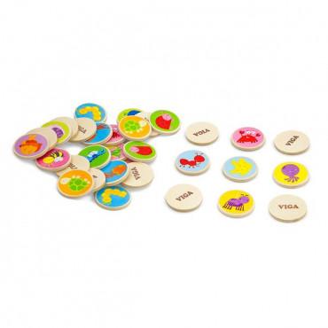 Деревянная настольная игра Viga Toys Мемори-фауна, 32 карточки
