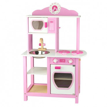 Детская кухня Viga Toys из дерева, бело-розовая