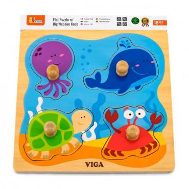 Деревянная рамка-вкладыш Viga Toys Морские обитатели R