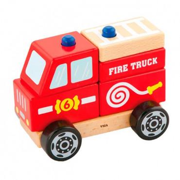 Деревянная пирамидка Viga Toys Пожарная машинка R