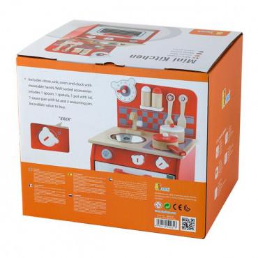 Детская кухня Viga Toys из дерева с посудой