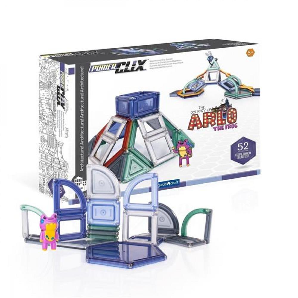 Магнітний конструктор Guidecraft PowerClix Explorer Series Архітектура, 52 деталі