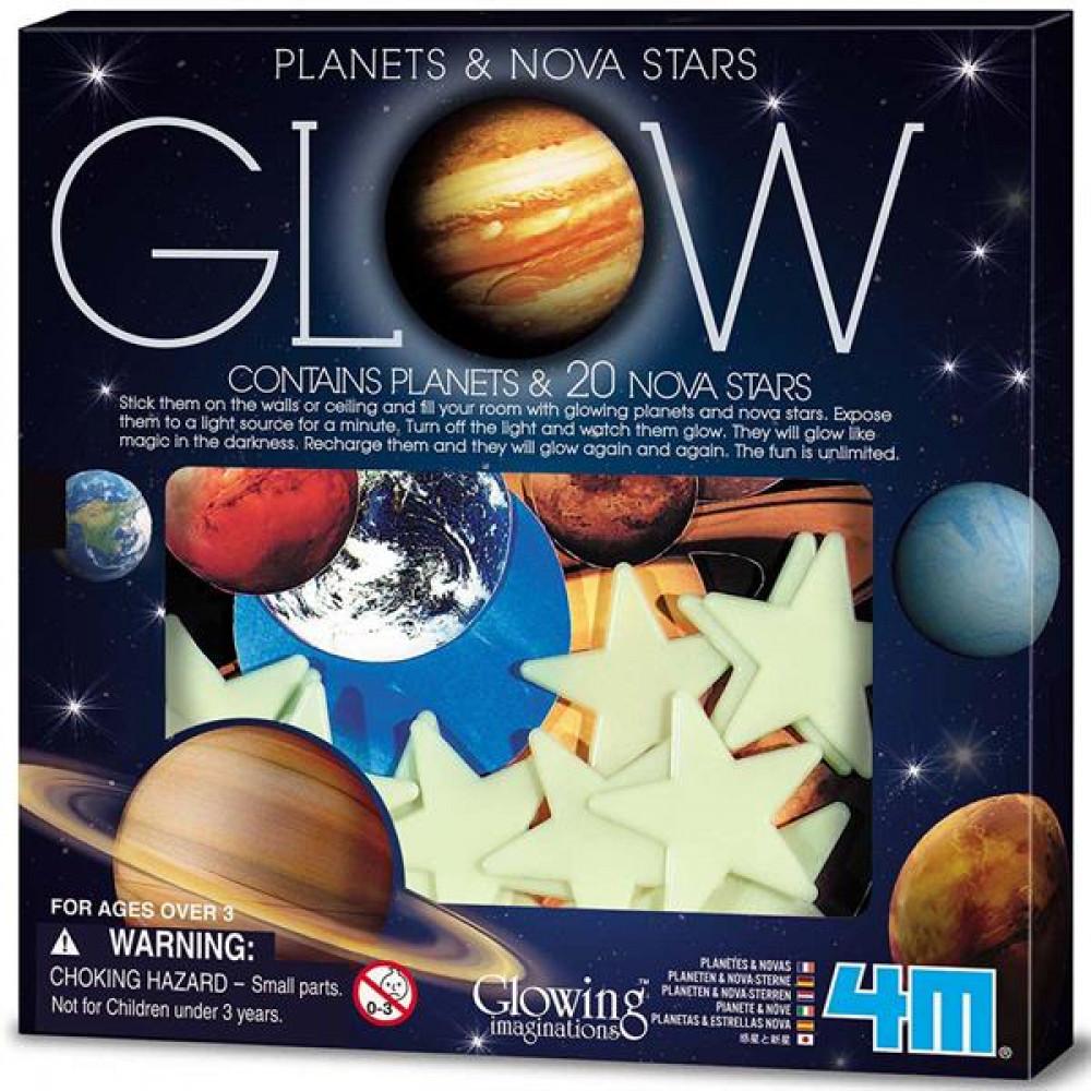 Набір світних наклейок 4M Планети і 20 зірок