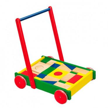 Детские ходунки-каталка Viga Toys Тележка с кубиками
