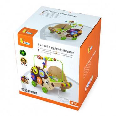 Деревянная каталка Viga Toys Ежик с бизибордом