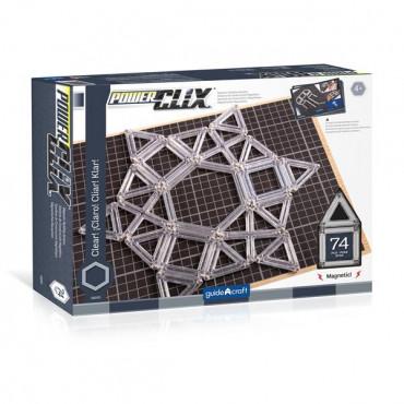 Магнітний конструктор Guidecraft PowerClix Frames Clear, 74 деталі