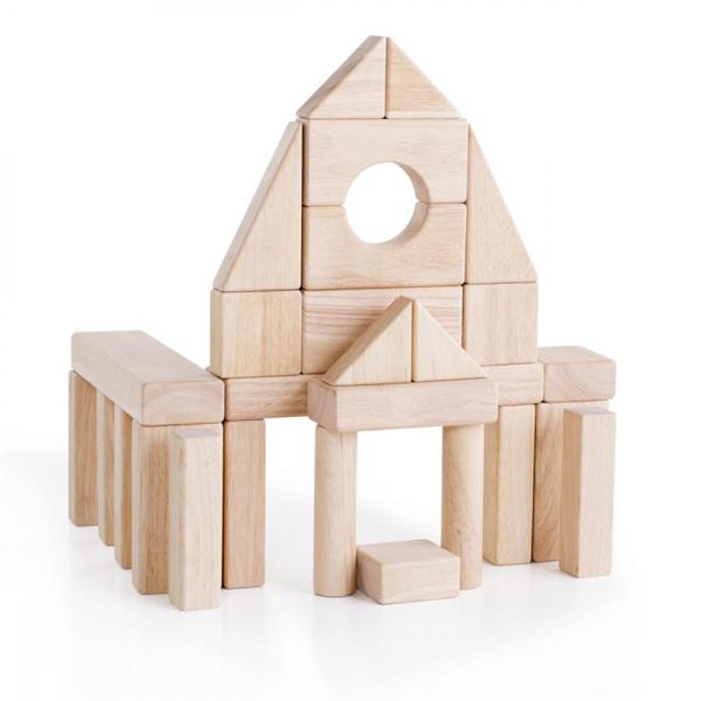 Дерев'яні кубики Guidecraft Unit Blocks з нефарбованого дерева Геометричні форми, 28 шт.