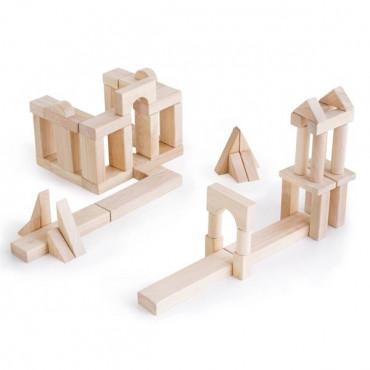 Деревянные кубики Guidecraft Unit Blocks из неокрашенного дерева Геометрические формы, 56 шт.