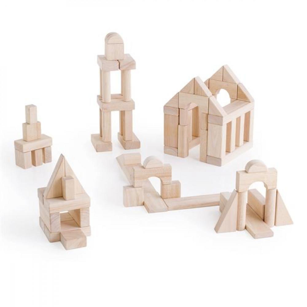 Дерев'яні кубики Guidecraft Unit Blocks з нефарбованого дерева Геометричні форми, 84 шт.