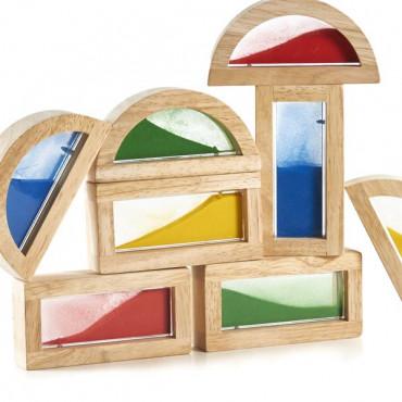 Ігровий набір блоків Guidecraft Block Play Кольоровий пісок, 14 см, 8 шт.