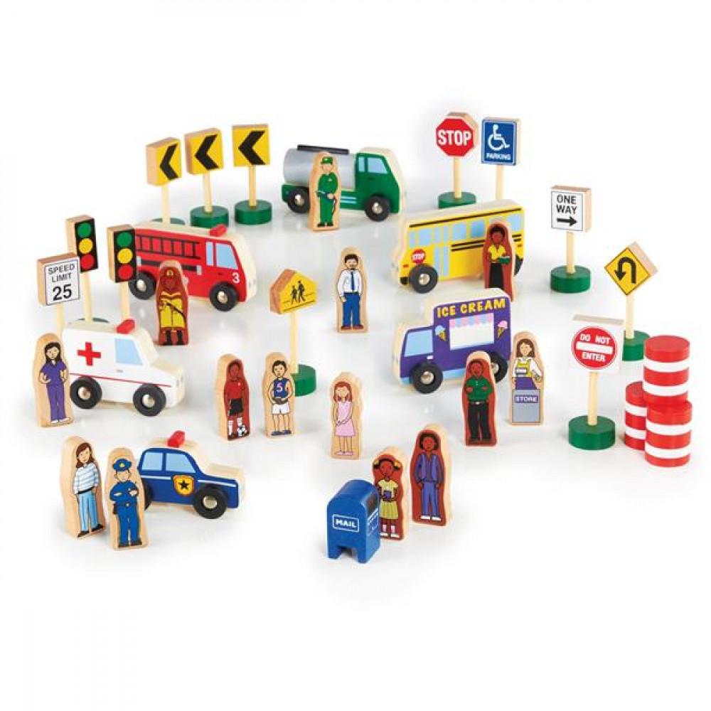 Набір фігурок і машин Guidecraft Block Play до Дорозі з дерева, 36 деталей