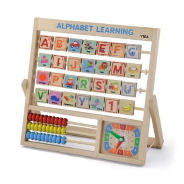 Деревянная игра Viga Toys Английский алфавит с часами и счетами