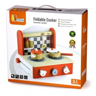 Детская плита Viga Toys с посудой, складная