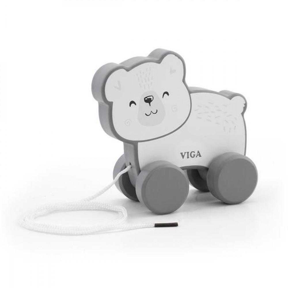 Дерев'яна каталка Viga Toys PolarB Білий ведмедик