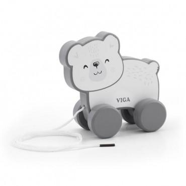 Деревянная каталка Viga Toys PolarB Белый мишка