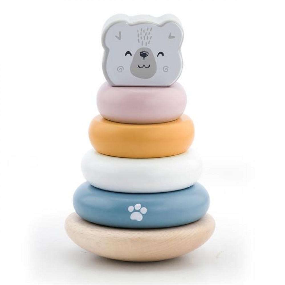 Дерев'яна пірамідка Viga Toys PolarB Білий ведмедик, неваляшка