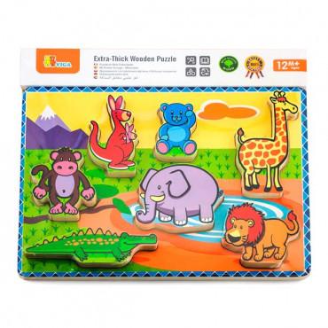 Деревянная рамка-вкладыш Viga Toys Зверушки