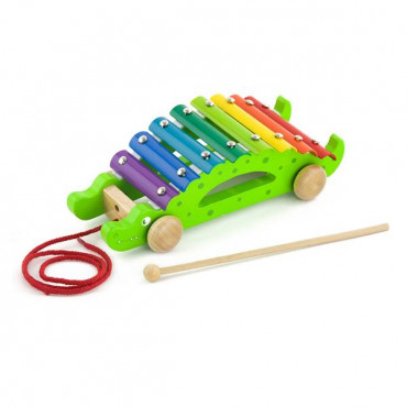Деревянный ксилофон-каталка Viga Toys Крокодил