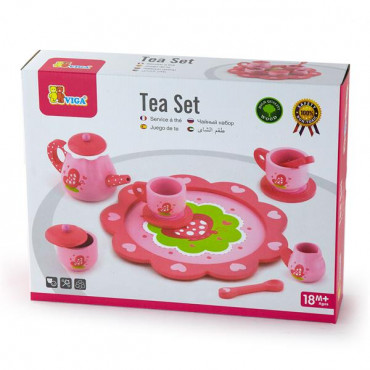 Игрушечная посуда Viga Toys Деревянный чайный набор, розовый