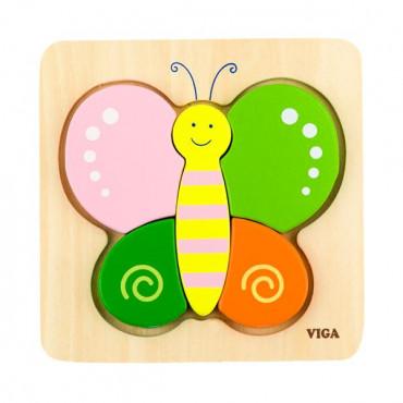 Деревянный мини-пазл Viga Toys Бабочка