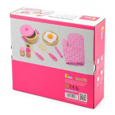 Детский кухонный набор Viga Toys Игрушечная посуда из дерева (розовый)