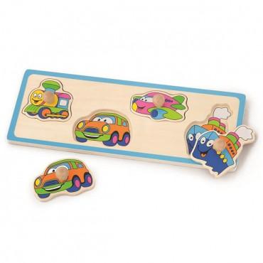 Деревянная рамка-вкладыш Viga Toys Веселый транспорт