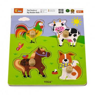 Деревянная рамка-вкладыш Viga Toys Зверята на ферме